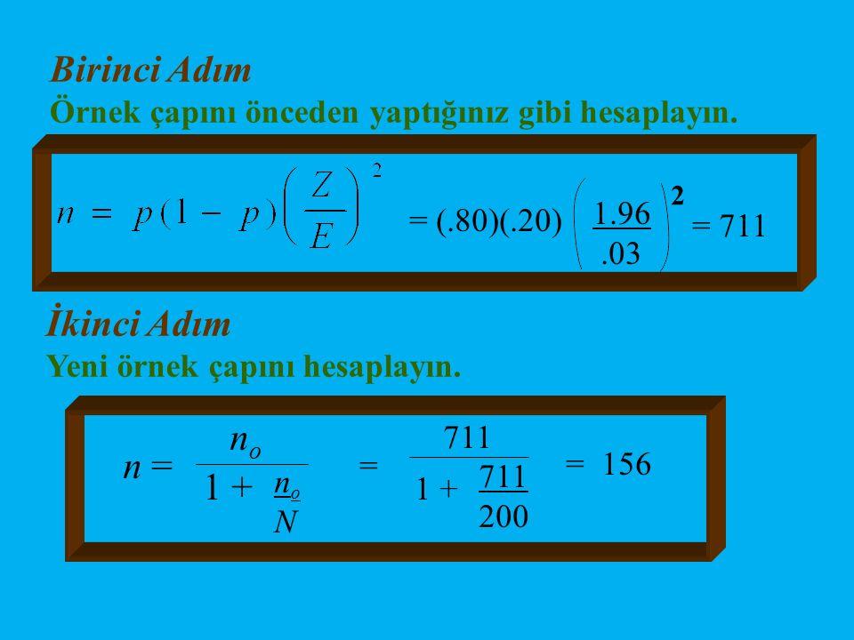 Birinci Adım Örnek çapını önceden yaptığınız gibi hesaplayın. = (.80)(.20) 1.96.03 2 = 711 İkinci Adım Yeni örnek çapını hesaplayın. n = n o noNnoN 1