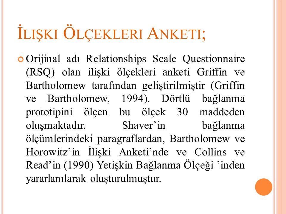 İ LIŞKI Ö LÇEKLERI A NKETI ; Orijinal adı Relationships Scale Questionnaire (RSQ) olan ilişki ölçekleri anketi Griffin ve Bartholomew tarafından geliş