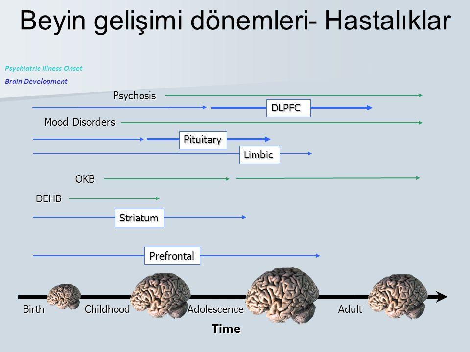 Beyin gelişimi dönemleri- HastalıklarBirthChildhoodAdolescence Adult Time Brain Development Psychiatric Illness Onset DEHB OKB Mood Disorders Psychosi