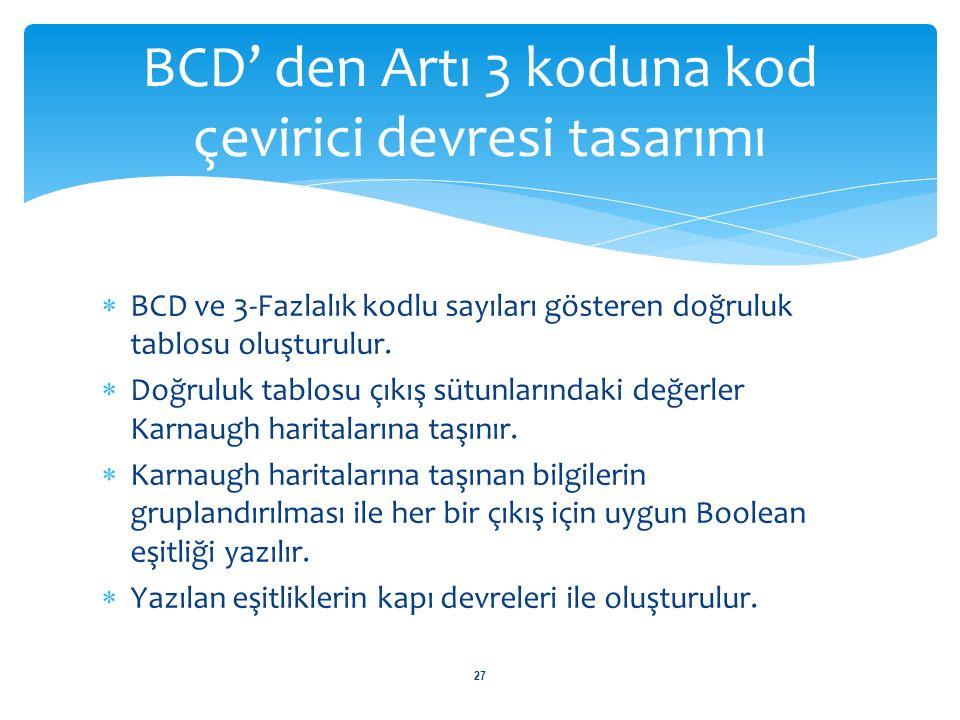  BCD ve 3-Fazlalık kodlu sayıları gösteren doğruluk tablosu oluşturulur.