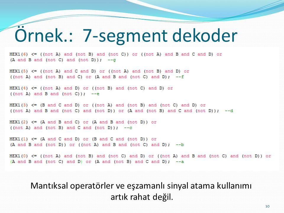 Örnek.: 7‐segment dekoder 10 Mantıksal operatörler ve eşzamanlı sinyal atama kullanımı artık rahat değil.