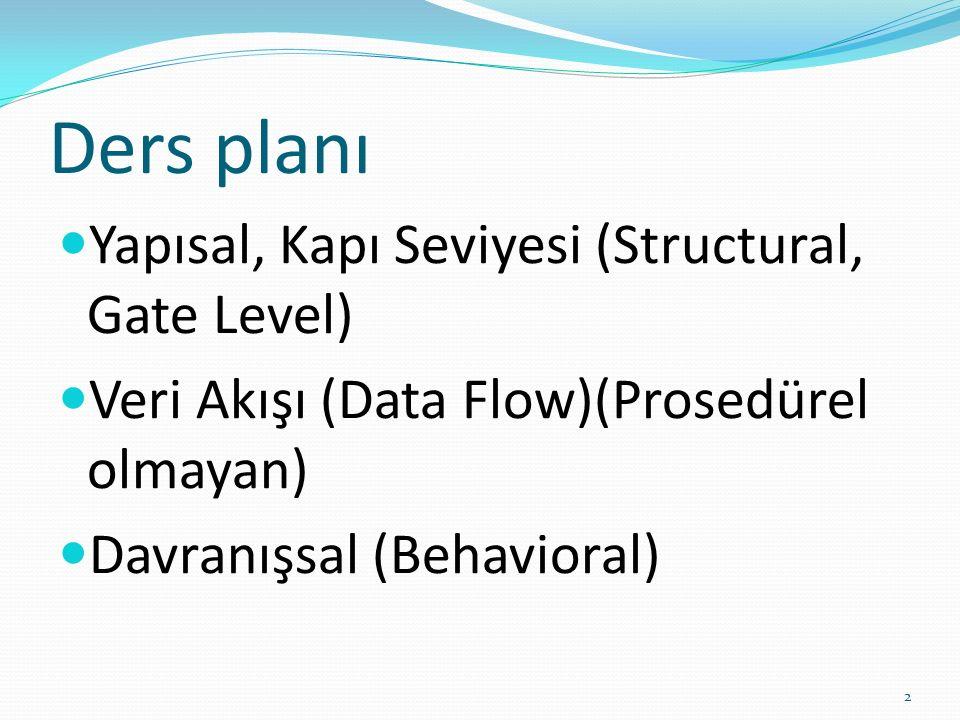 Ders planı Yapısal, Kapı Seviyesi (Structural, Gate Level) Veri Akışı (Data Flow)(Prosedürel olmayan) Davranışsal (Behavioral) 2