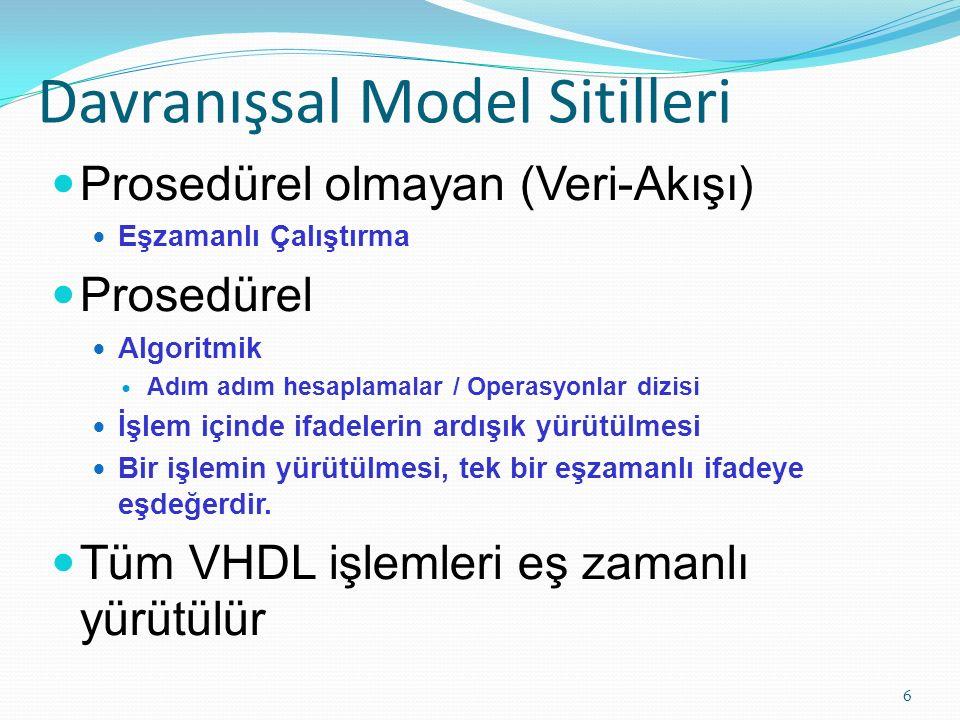 Davranışsal Model Sitilleri 6 Prosedürel olmayan (Veri-Akışı) Eşzamanlı Çalıştırma Prosedürel Algoritmik Adım adım hesaplamalar / Operasyonlar dizisi İşlem içinde ifadelerin ardışık yürütülmesi Bir işlemin yürütülmesi, tek bir eşzamanlı ifadeye eşdeğerdir.