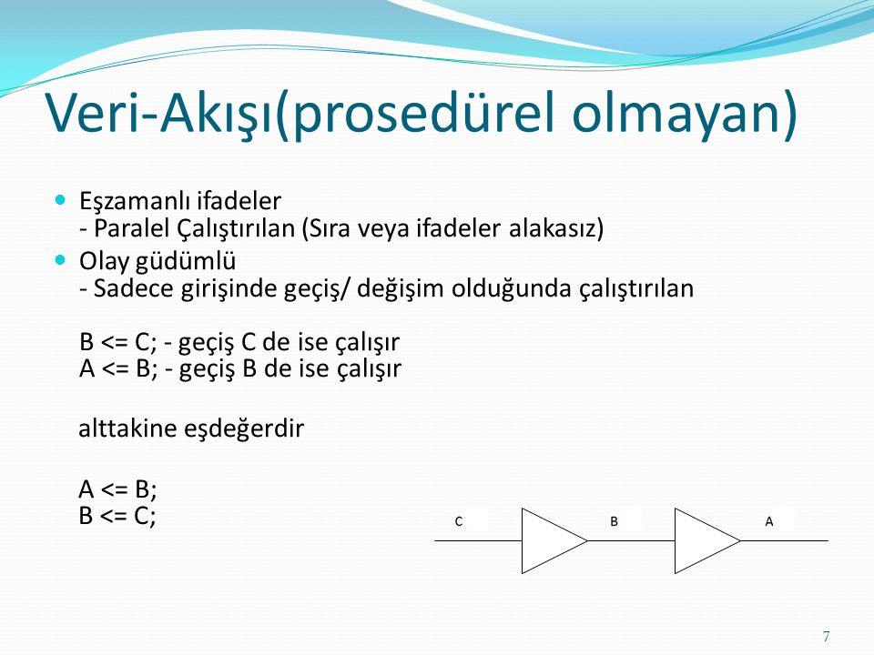 Veri-Akışı(prosedürel olmayan) Eşzamanlı ifadeler - Paralel Çalıştırılan (Sıra veya ifadeler alakasız) Olay güdümlü - Sadece girişinde geçiş/ değişim olduğunda çalıştırılan B <= C; - geçiş C de ise çalışır A <= B; - geçiş B de ise çalışır alttakine eşdeğerdir A <= B; B <= C; 7