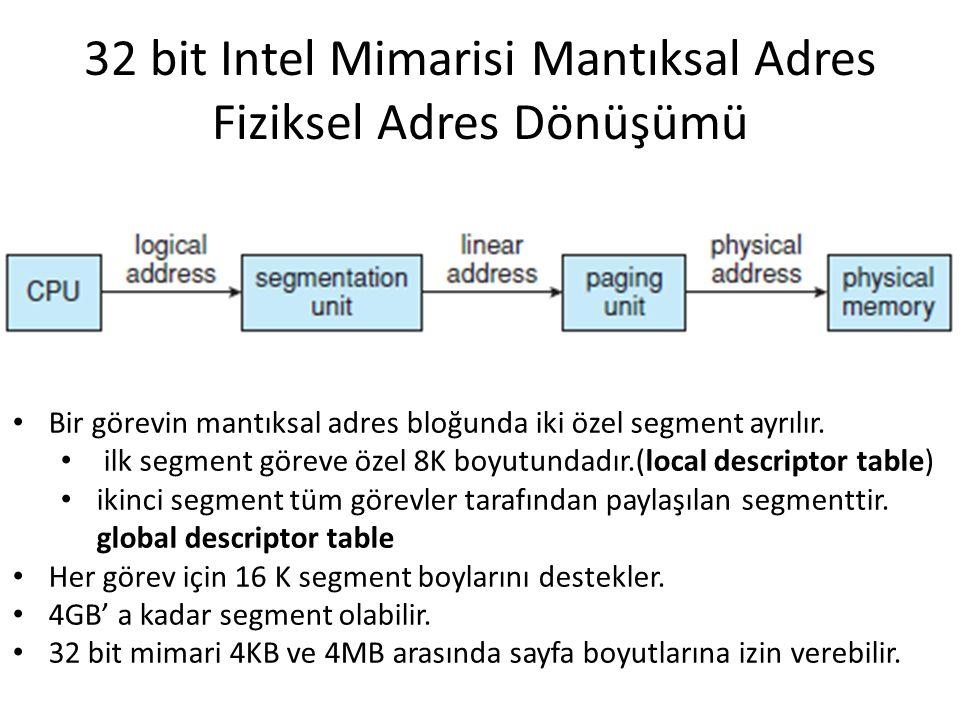 32 bit Intel Mimarisi Mantıksal Adres Fiziksel Adres Dönüşümü Bir görevin mantıksal adres bloğunda iki özel segment ayrılır. ilk segment göreve özel 8