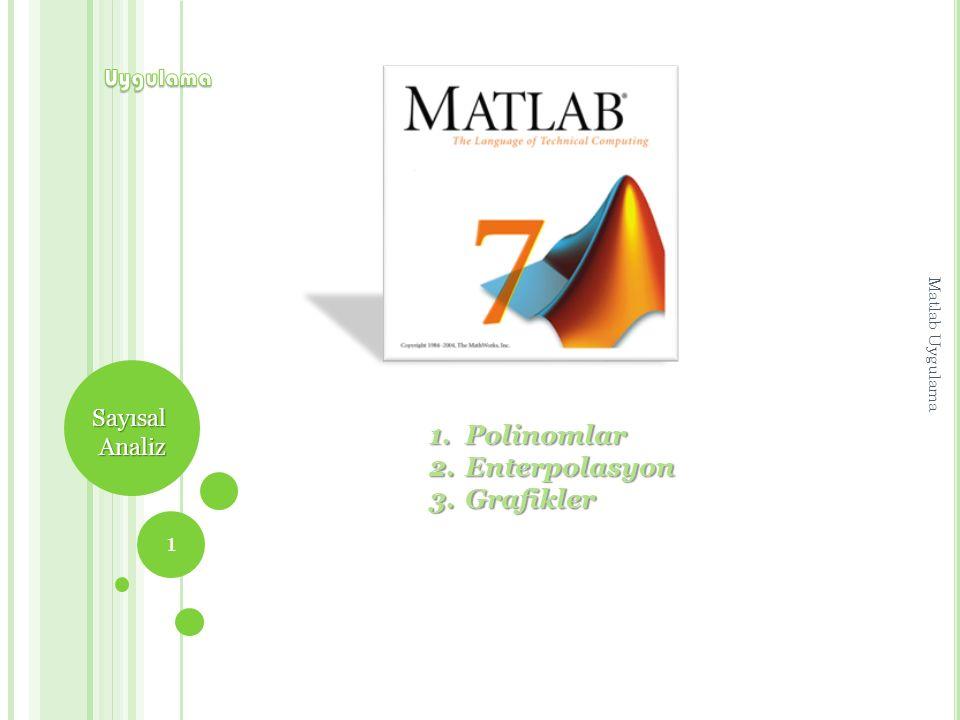 S AYISAL A NALIZ Polinomlar Polinom Girişi Matlab'de polinomlar katsayılarının vektörü ile tanımlanır.