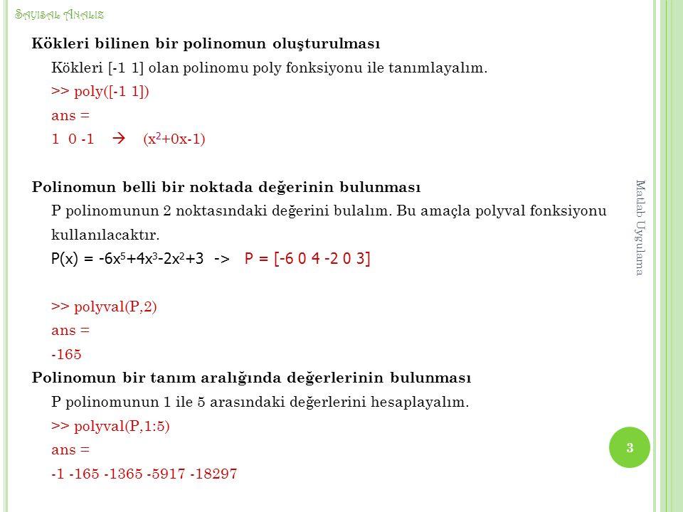 S AYISAL A NALIZ Kökleri bilinen bir polinomun oluşturulması Kökleri [-1 1] olan polinomu poly fonksiyonu ile tanımlayalım.
