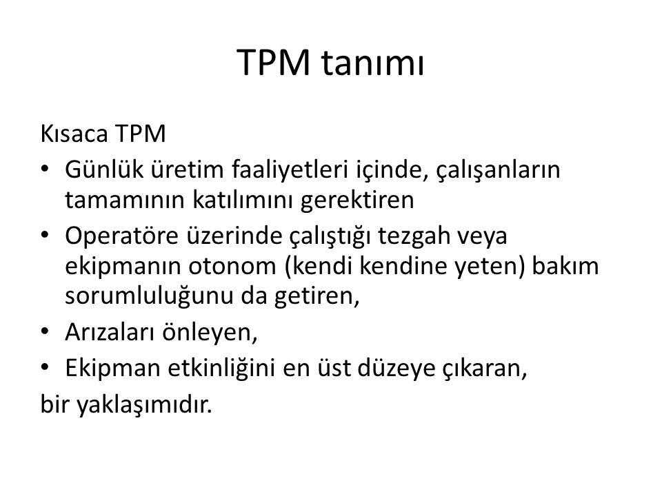 TPM tanımı Kısaca TPM Günlük üretim faaliyetleri içinde, çalışanların tamamının katılımını gerektiren Operatöre üzerinde çalıştığı tezgah veya ekipmanın otonom (kendi kendine yeten) bakım sorumluluğunu da getiren, Arızaları önleyen, Ekipman etkinliğini en üst düzeye çıkaran, bir yaklaşımıdır.