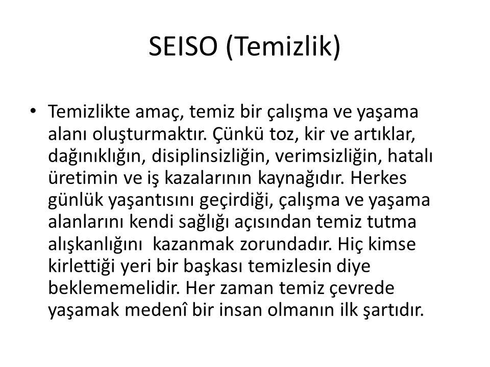 SEISO (Temizlik) Temizlikte amaç, temiz bir çalışma ve yaşama alanı oluşturmaktır.