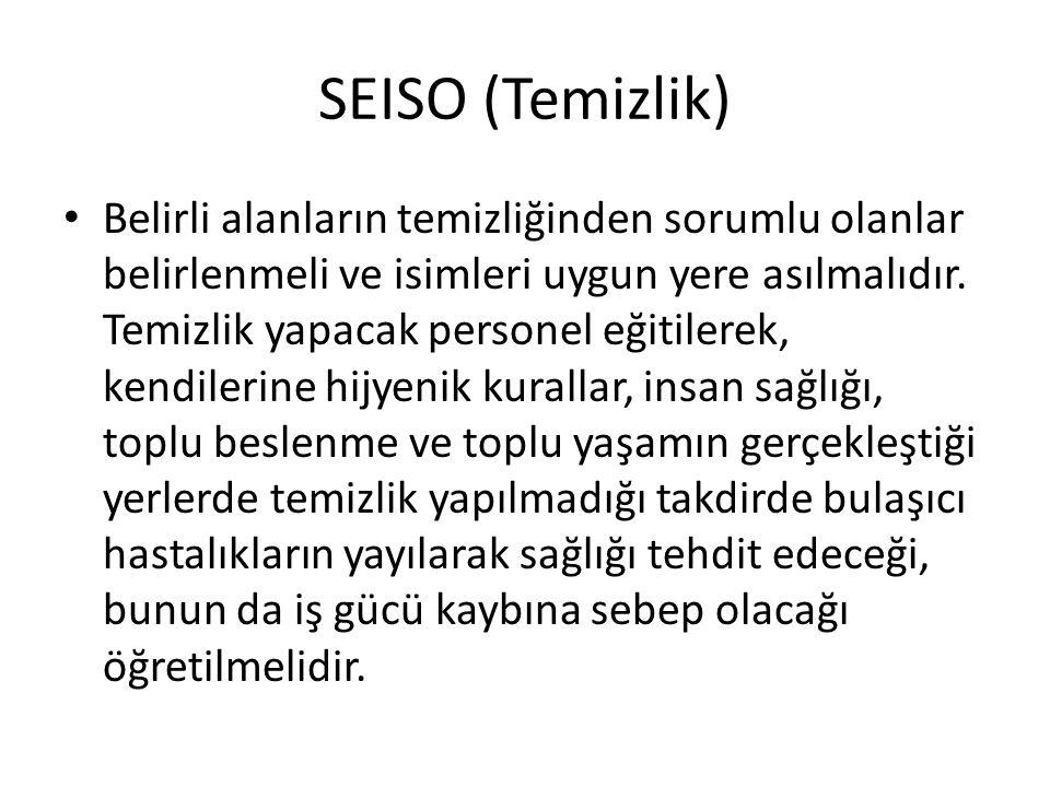 SEISO (Temizlik) Belirli alanların temizliğinden sorumlu olanlar belirlenmeli ve isimleri uygun yere asılmalıdır.