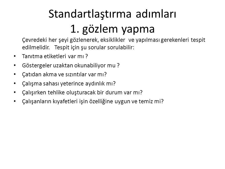 Standartlaştırma adımları 1.