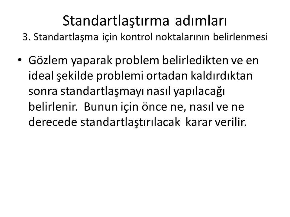 Standartlaştırma adımları 3.