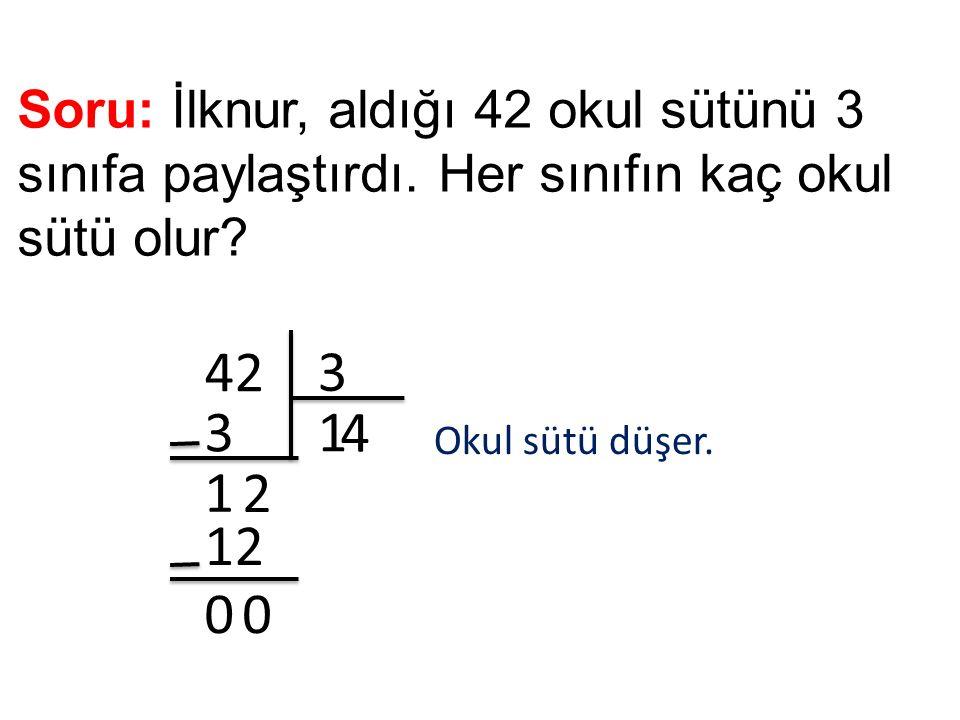 Soru: İlknur, aldığı 42 okul sütünü 3 sınıfa paylaştırdı. Her sınıfın kaç okul sütü olur? 42 3 13 1 2 4 12 00 Okul sütü düşer.