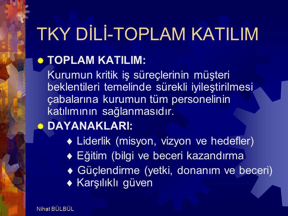 TKY DİLİ-TOPLAM KATILIM  TOPLAM KATILIM: Kurumun kritik iş süreçlerinin müşteri beklentileri temelinde sürekli iyileştirilmesi çabalarına kurumun tüm personelinin katılımının sağlanmasıdır.