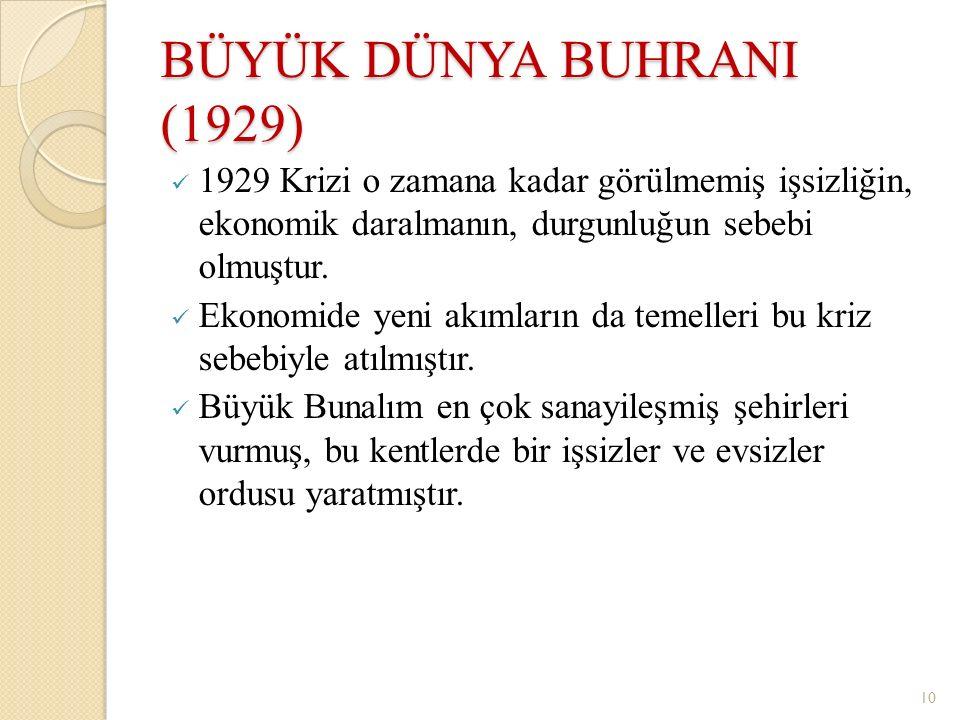 BÜYÜK DÜNYA BUHRANI (1929) 1929 Krizi o zamana kadar görülmemiş işsizliğin, ekonomik daralmanın, durgunluğun sebebi olmuştur. Ekonomide yeni akımların