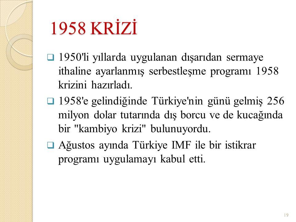 1958 KRİZİ  1950'li yıllarda uygulanan dışarıdan sermaye ithaline ayarlanmış serbestleşme programı 1958 krizini hazırladı.  1958'e gelindiğinde Türk
