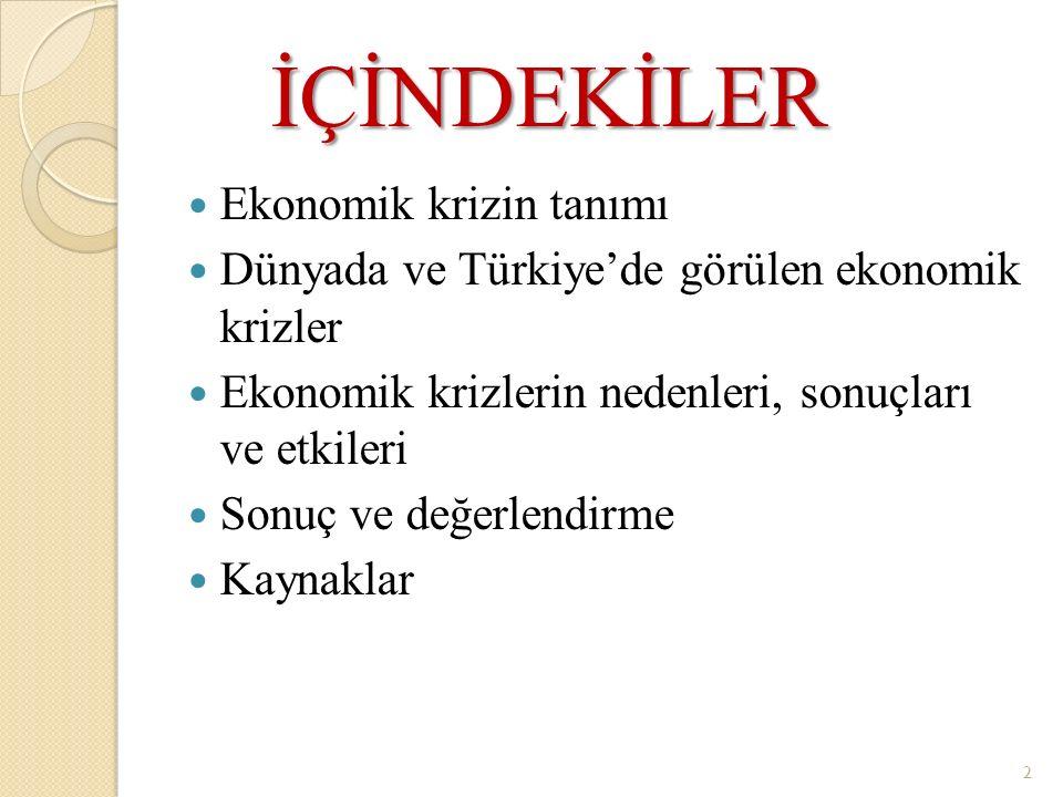İÇİNDEKİLER İÇİNDEKİLER Ekonomik krizin tanımı Dünyada ve Türkiye'de görülen ekonomik krizler Ekonomik krizlerin nedenleri, sonuçları ve etkileri Sonu