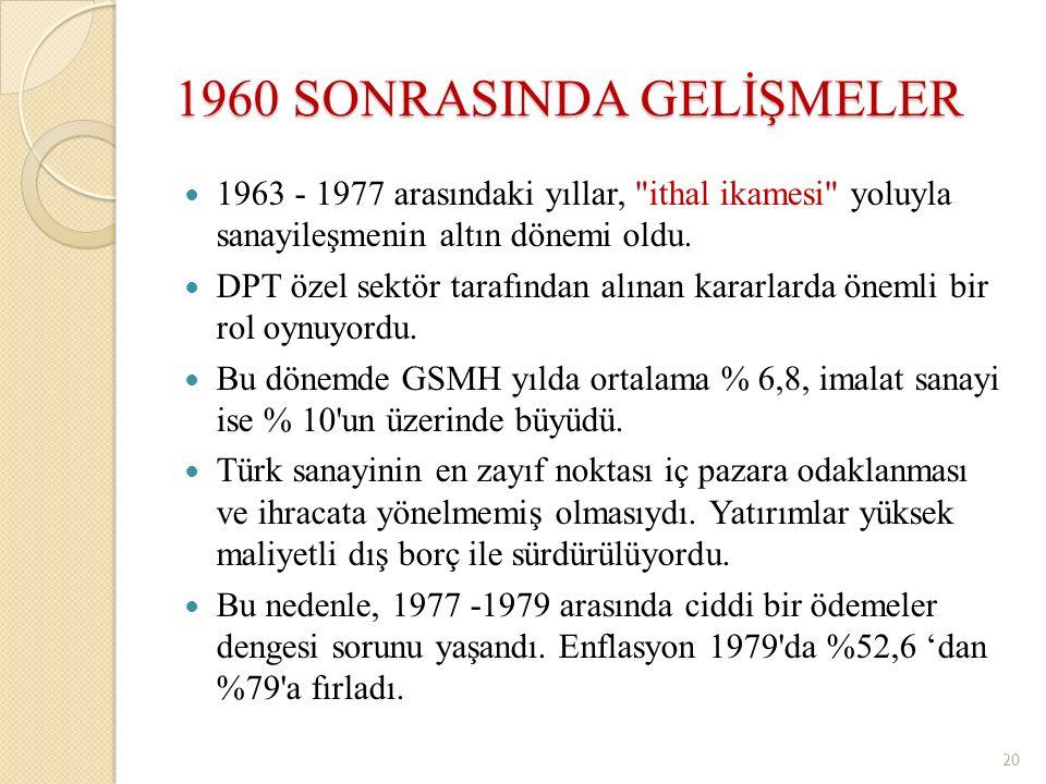 1960 SONRASINDA GELİŞMELER 1963 - 1977 arasındaki yıllar,