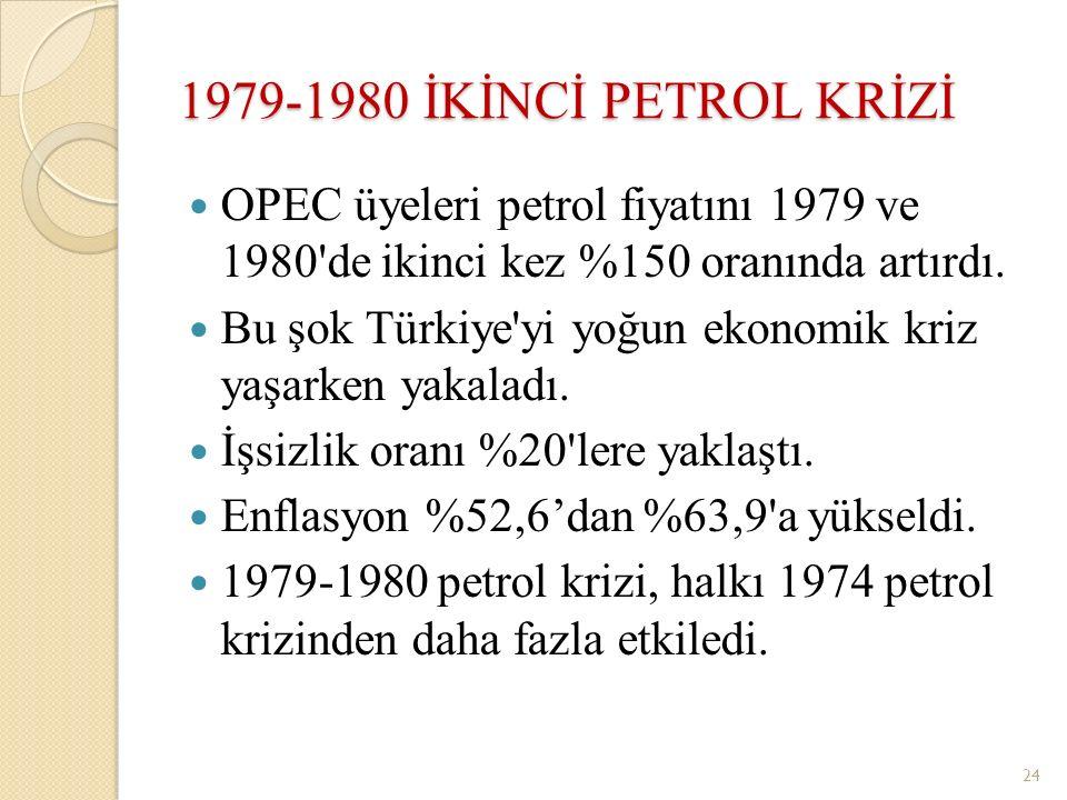 1979-1980 İKİNCİ PETROL KRİZİ OPEC üyeleri petrol fiyatını 1979 ve 1980'de ikinci kez %150 oranında artırdı. Bu şok Türkiye'yi yoğun ekonomik kriz yaş