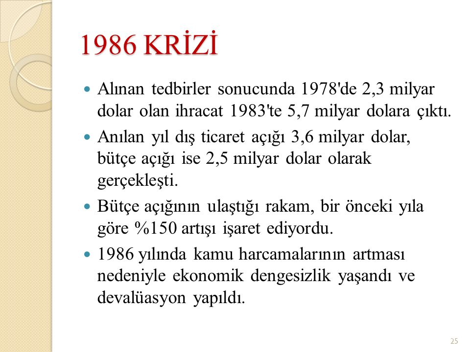 1986 KRİZİ Alınan tedbirler sonucunda 1978'de 2,3 milyar dolar olan ihracat 1983'te 5,7 milyar dolara çıktı. Anılan yıl dış ticaret açığı 3,6 milyar d