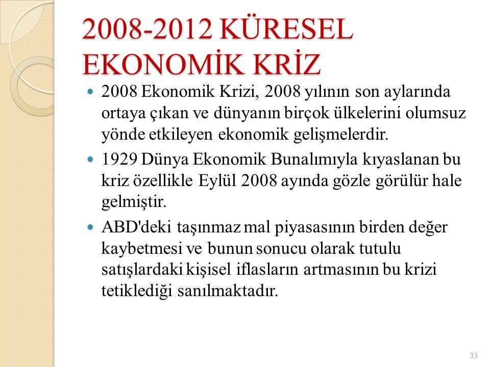 2008-2012 KÜRESEL EKONOMİK KRİZ 2008 Ekonomik Krizi, 2008 yılının son aylarında ortaya çıkan ve dünyanın birçok ülkelerini olumsuz yönde etkileyen eko