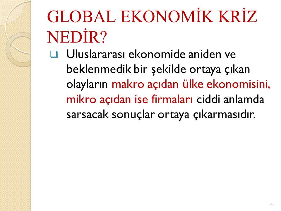 GLOBAL EKONOMİK KRİZ NEDİR?  Uluslararası ekonomide aniden ve beklenmedik bir şekilde ortaya çıkan olayların makro açıdan ülke ekonomisini, mikro açı