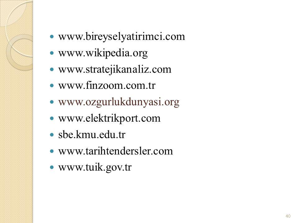 www.bireyselyatirimci.com www.wikipedia.org www.stratejikanaliz.com www.finzoom.com.tr www.ozgurlukdunyasi.org www.elektrikport.com sbe.kmu.edu.tr www