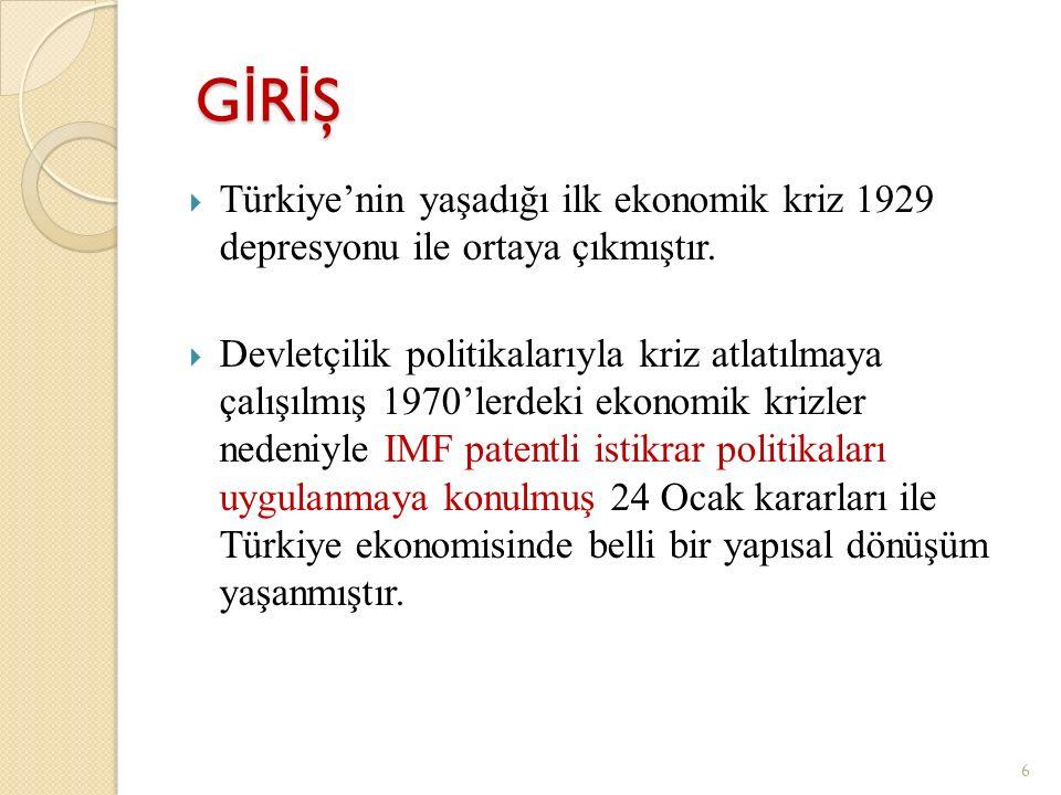 GİRİŞ GİRİŞ GİRİŞ GİRİŞ  Türkiye'nin yaşadığı ilk ekonomik kriz 1929 depresyonu ile ortaya çıkmıştır.  Devletçilik politikalarıyla kriz atlatılmaya