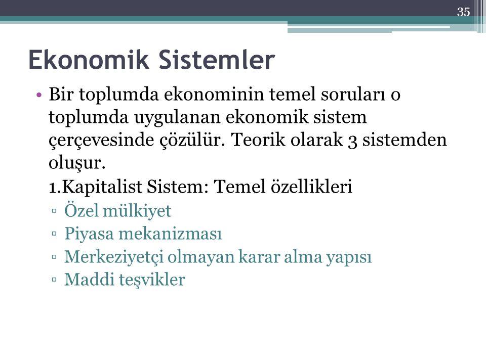Ekonomik Sistemler Bir toplumda ekonominin temel soruları o toplumda uygulanan ekonomik sistem çerçevesinde çözülür. Teorik olarak 3 sistemden oluşur.