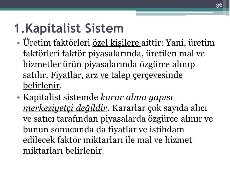 1.Kapitalist Sistem Üretim faktörleri özel kişilere aittir: Yani, üretim faktörleri faktör piyasalarında, üretilen mal ve hizmetler ürün piyasalarında