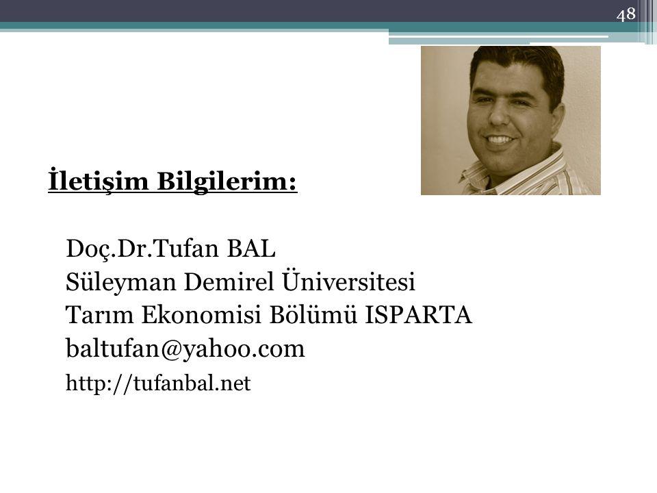 İletişim Bilgilerim: Doç.Dr.Tufan BAL Süleyman Demirel Üniversitesi Tarım Ekonomisi Bölümü ISPARTA baltufan@yahoo.com http://tufanbal.net 48