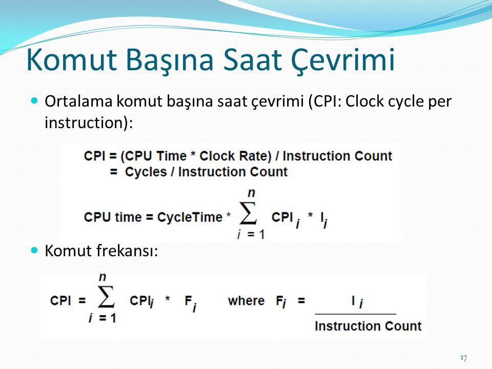 Komut Başına Saat Çevrimi Ortalama komut başına saat çevrimi (CPI: Clock cycle per instruction): Komut frekansı: 17