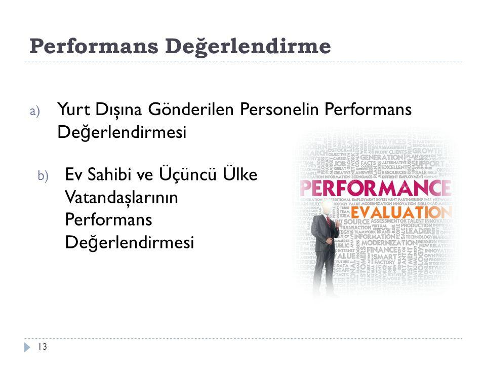 Performans Değerlendirme 13 a) Yurt Dışına Gönderilen Personelin Performans De ğ erlendirmesi b) Ev Sahibi ve Üçüncü Ülke Vatandaşlarının Performans D