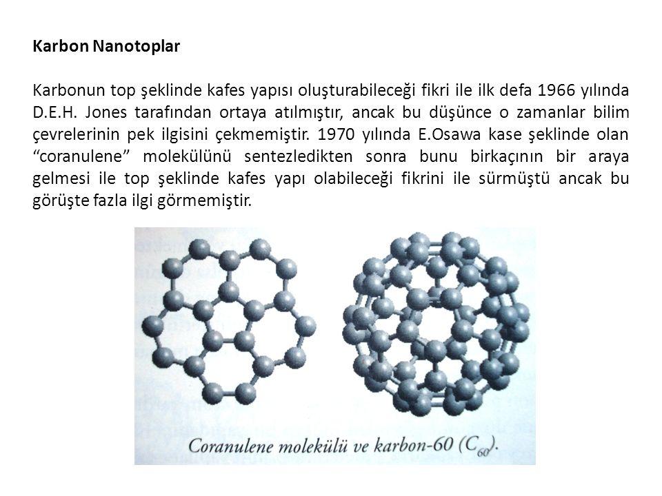 Karbon Nanotoplar Karbonun top şeklinde kafes yapısı oluşturabileceği fikri ile ilk defa 1966 yılında D.E.H. Jones tarafından ortaya atılmıştır, ancak