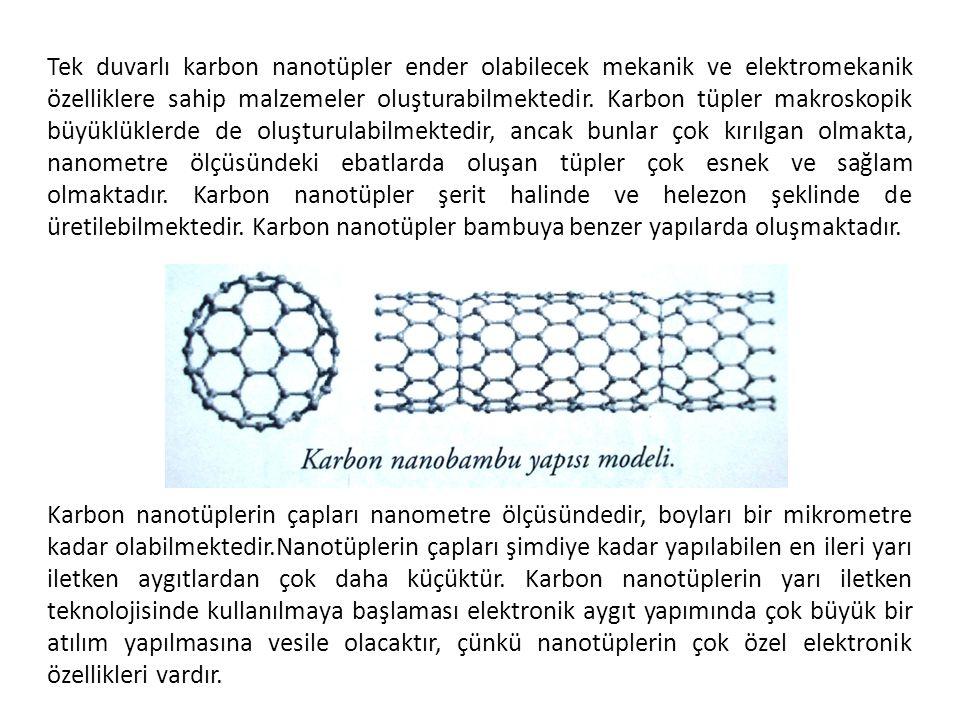 Tek duvarlı karbon nanotüpler ender olabilecek mekanik ve elektromekanik özelliklere sahip malzemeler oluşturabilmektedir. Karbon tüpler makroskopik b