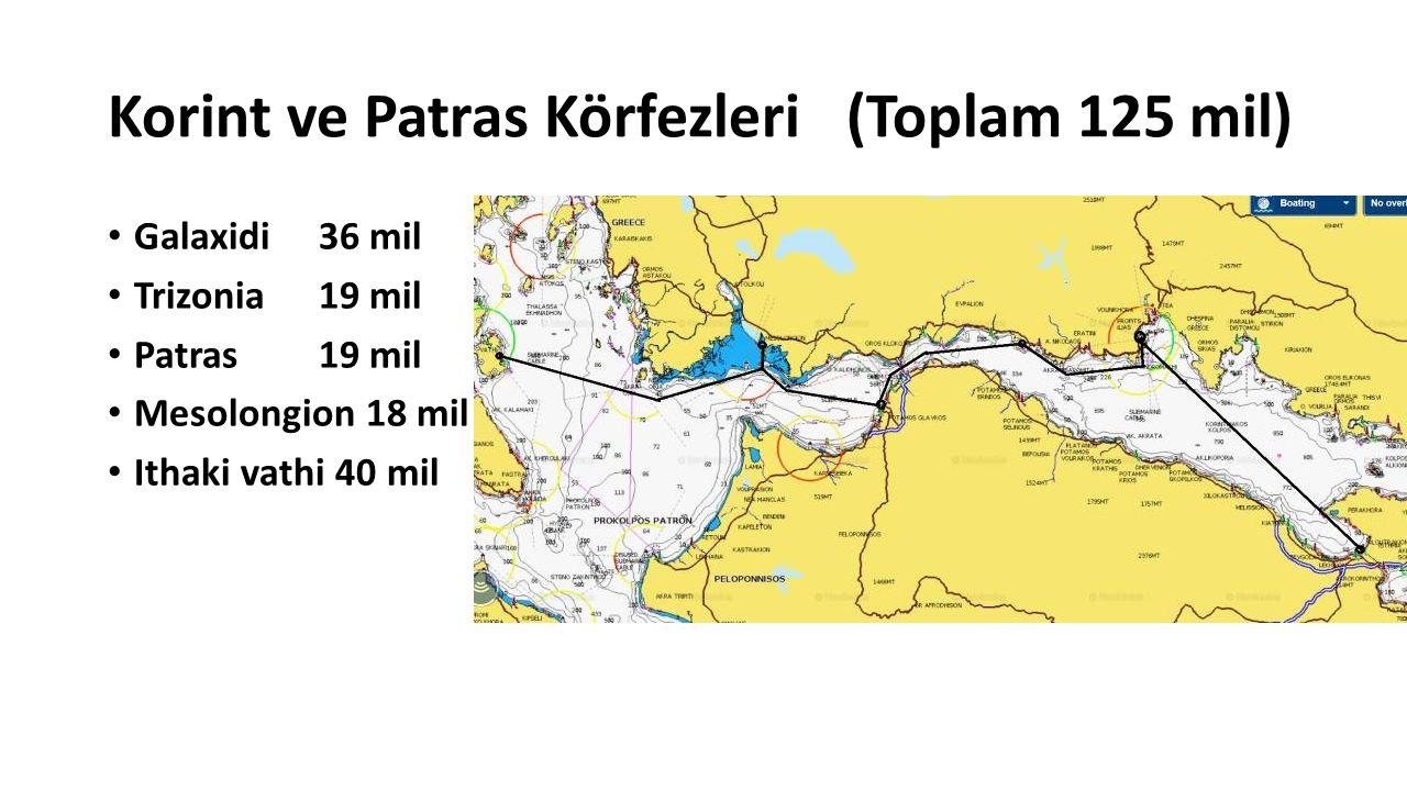 Korint ve Patras Körfezleri(Toplam 125 mil) Galaxidi 36 mil Trizonia 19 mil Patras 19 mil Mesolongion 18 mil Ithaki vathi 40 mil