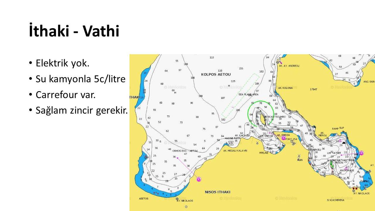 İthaki - Vathi Elektrik yok. Su kamyonla 5c/litre Carrefour var. Sağlam zincir gerekir.