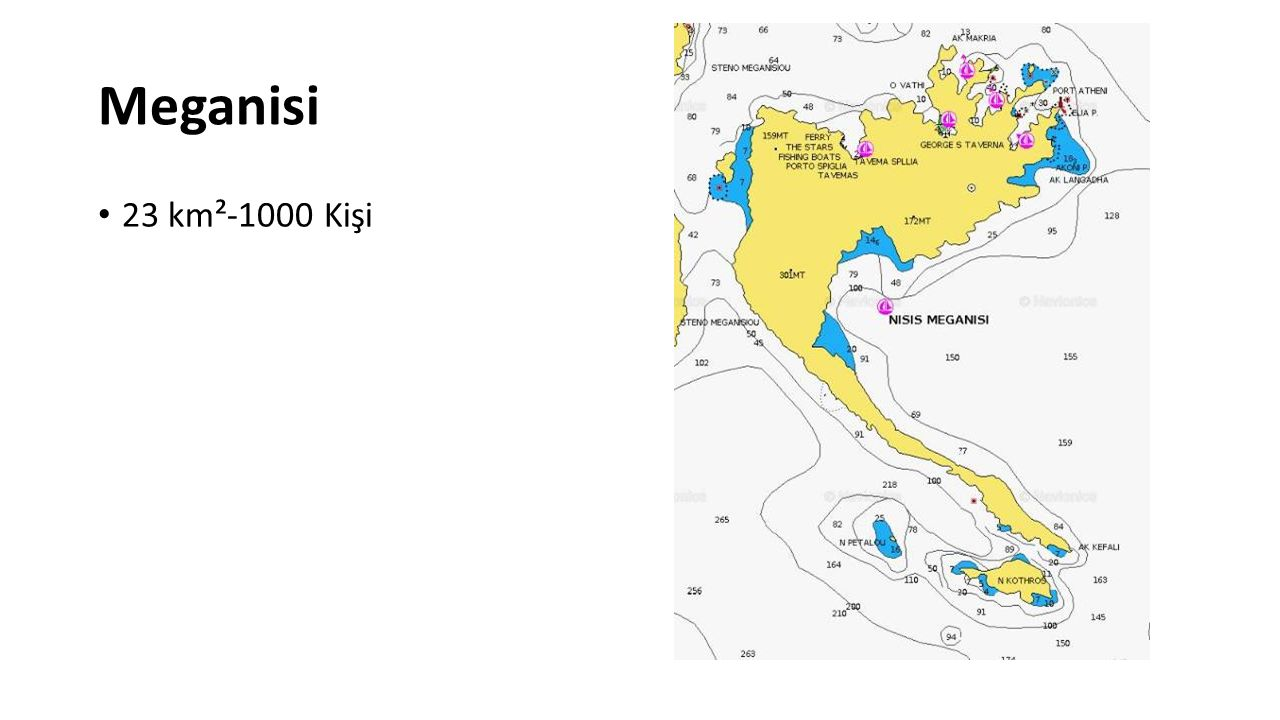 Meganisi 23 km²-1000 Kişi