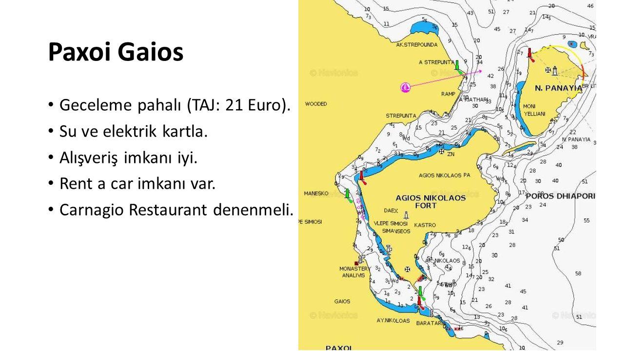 Paxoi Gaios Geceleme pahalı (TAJ: 21 Euro). Su ve elektrik kartla. Alışveriş imkanı iyi. Rent a car imkanı var. Carnagio Restaurant denenmeli.
