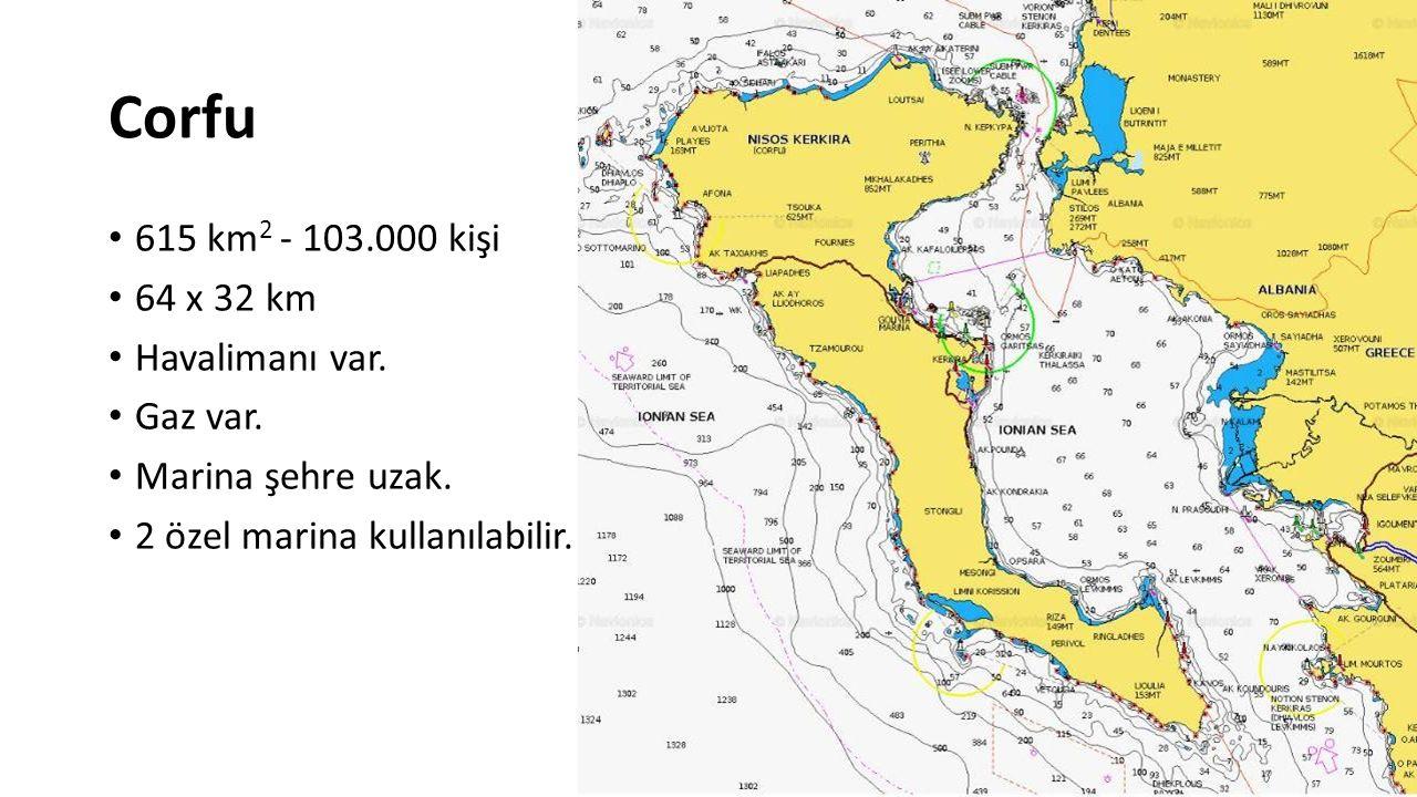 Corfu 615 km 2 - 103.000 kişi 64 x 32 km Havalimanı var. Gaz var. Marina şehre uzak. 2 özel marina kullanılabilir.