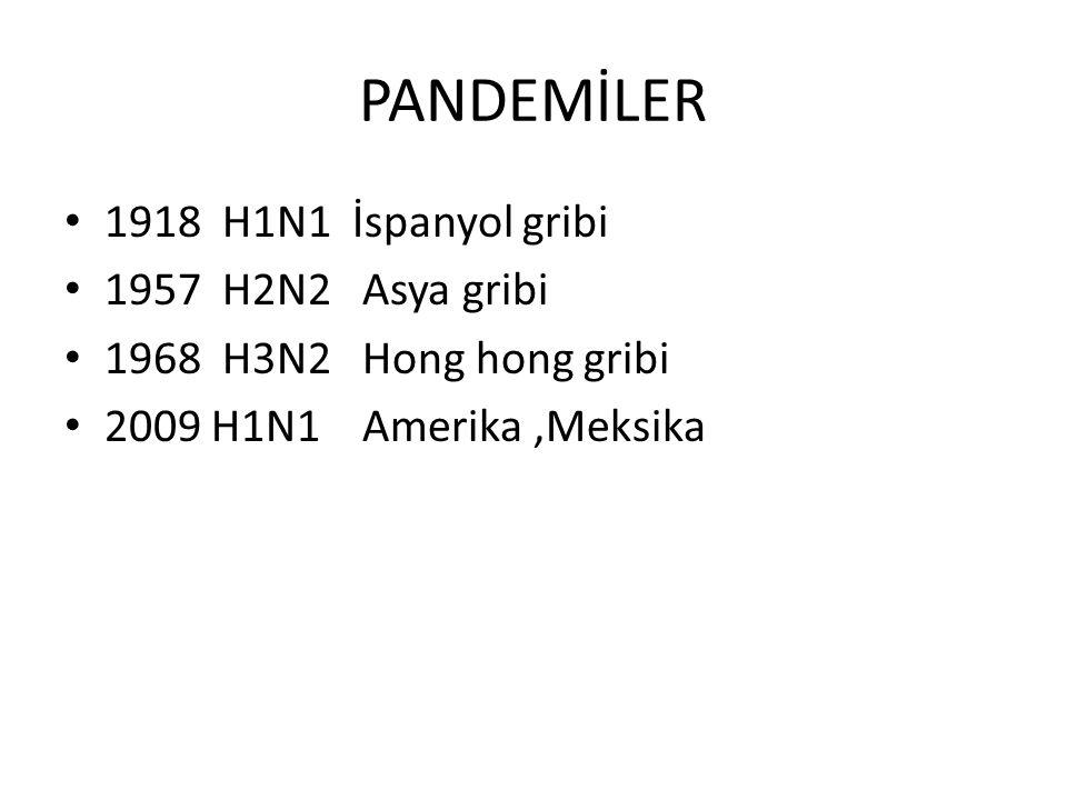 PANDEMİLER 1918 H1N1 İspanyol gribi 1957 H2N2 Asya gribi 1968 H3N2 Hong hong gribi 2009 H1N1 Amerika,Meksika
