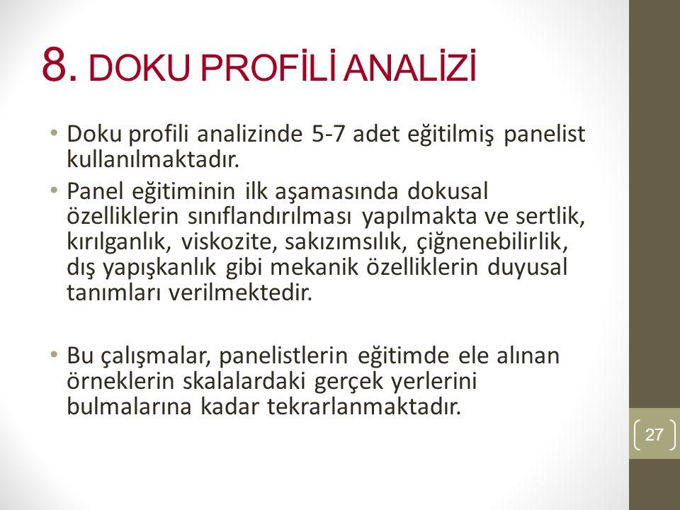 8.DOKU PROFİLİ ANALİZİ Doku profili analizinde 5-7 adet eğitilmiş panelist kullanılmaktadır.
