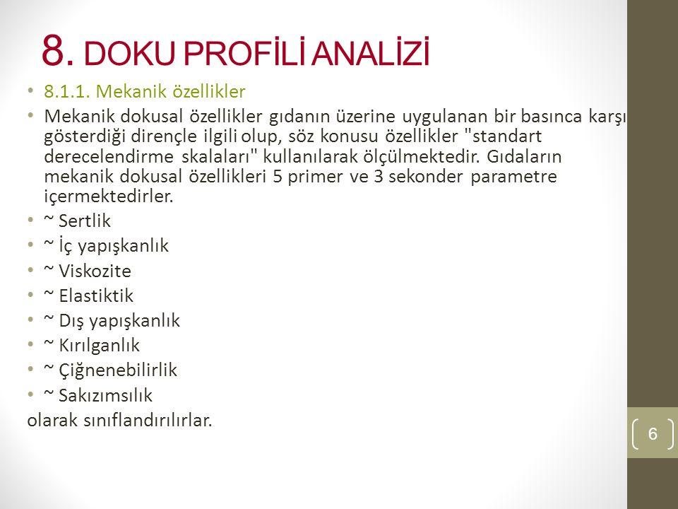 8.DOKU PROFİLİ ANALİZİ 8.1.1.