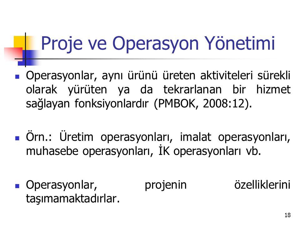 Proje ve Operasyon Yönetimi Operasyonlar, aynı ürünü üreten aktiviteleri sürekli olarak yürüten ya da tekrarlanan bir hizmet sağlayan fonksiyonlardır (PMBOK, 2008:12).