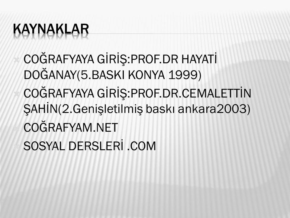  COĞRAFYAYA GİRİŞ:PROF.DR HAYATİ DOĞANAY(5.BASKI KONYA 1999)  COĞRAFYAYA GİRİŞ:PROF.DR.CEMALETTİN ŞAHİN(2.Genişletilmiş baskı ankara2003)  COĞRAFYAM.NET  SOSYAL DERSLERİ.COM