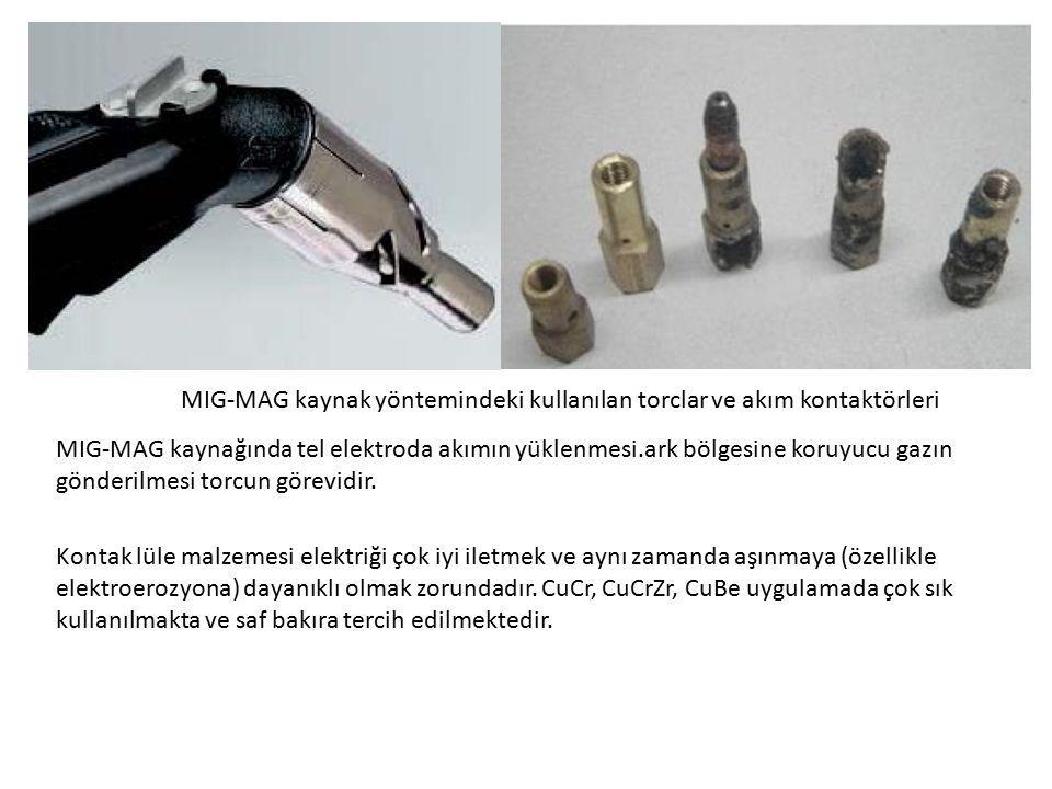 MIG-MAG kaynak yöntemindeki kullanılan torclar ve akım kontaktörleri MIG-MAG kaynağında tel elektroda akımın yüklenmesi.ark bölgesine koruyucu gazın g