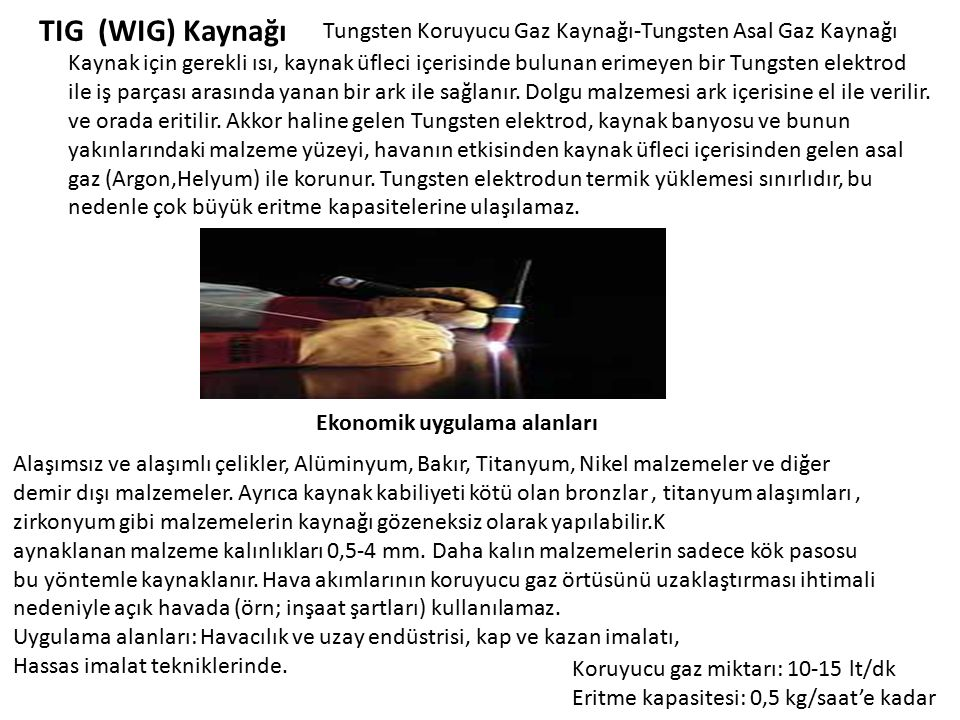 TIG (WIG) Kaynağı Tungsten Koruyucu Gaz Kaynağı-Tungsten Asal Gaz Kaynağı Kaynak için gerekli ısı, kaynak üfleci içerisinde bulunan erimeyen bir Tungs