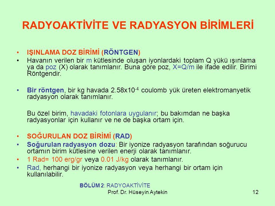Prof. Dr. Hüseyin Aytekin12 RADYOAKTİVİTE VE RADYASYON BİRİMLERİ IŞINLAMA DOZ BİRİMİ (RÖNTGEN) Havanın verilen bir m kütlesinde oluşan iyonlardaki top