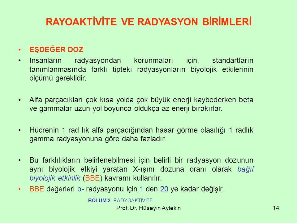 Prof. Dr. Hüseyin Aytekin14 RAYOAKTİVİTE VE RADYASYON BİRİMLERİ EŞDEĞER DOZ İnsanların radyasyondan korunmaları için, standartların tanımlanmasında fa