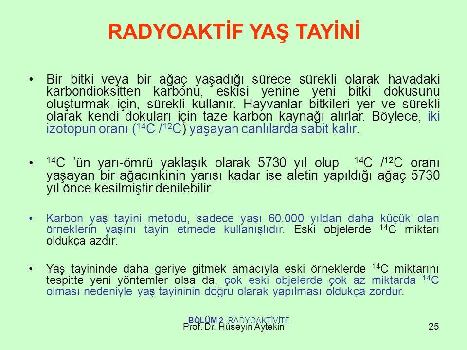Prof. Dr. Hüseyin Aytekin25 RADYOAKTİF YAŞ TAYİNİ Bir bitki veya bir ağaç yaşadığı sürece sürekli olarak havadaki karbondioksitten karbonu, eskisi yen